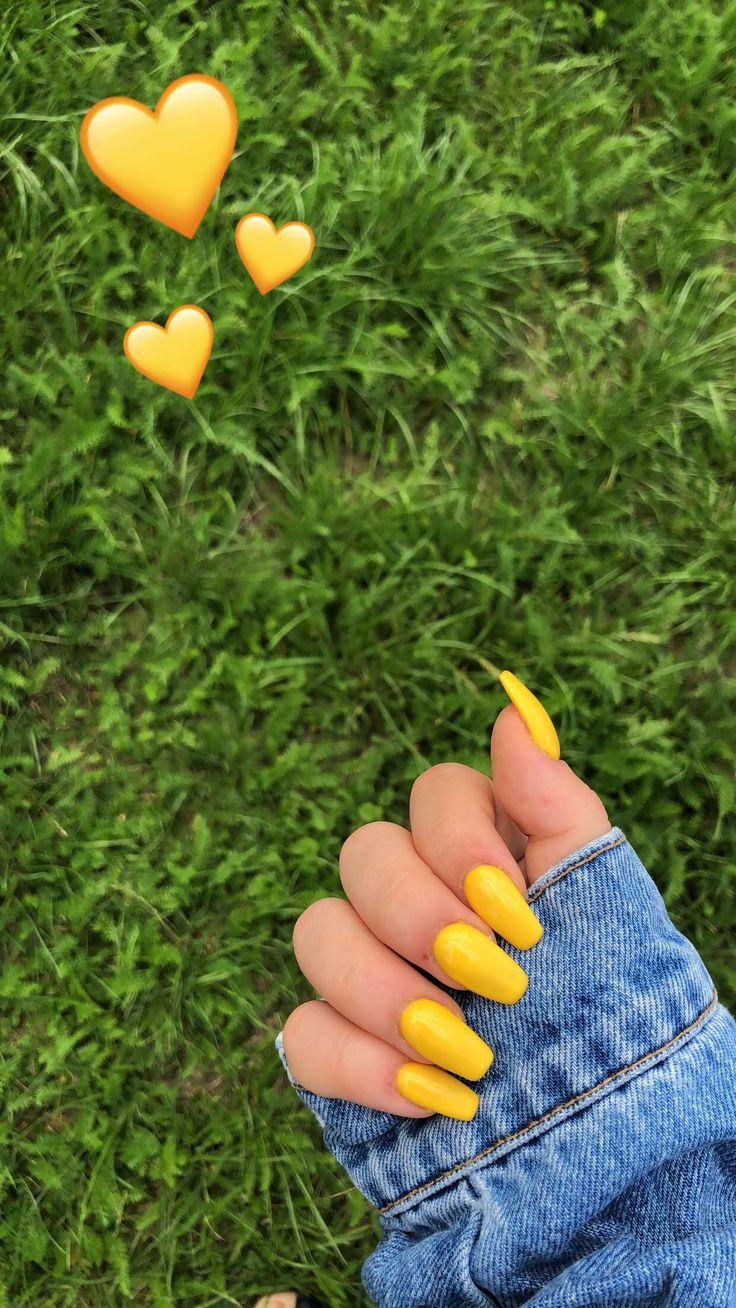 Yellow nails 💛 #nails #yellow #love #sun #green #summer