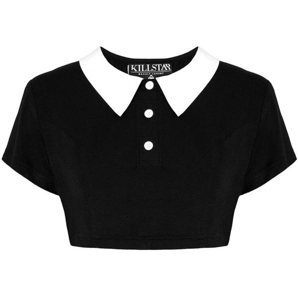 Killstar Gothic Addams Crop Top ❤ liked on Polyvore featuring tops, shirts, crop top, black, gothic tops, black collared shirt, stretch shirt and shirts & tops