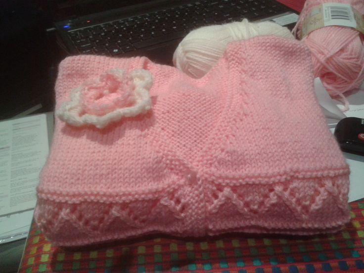 childs cardi with crochet flower