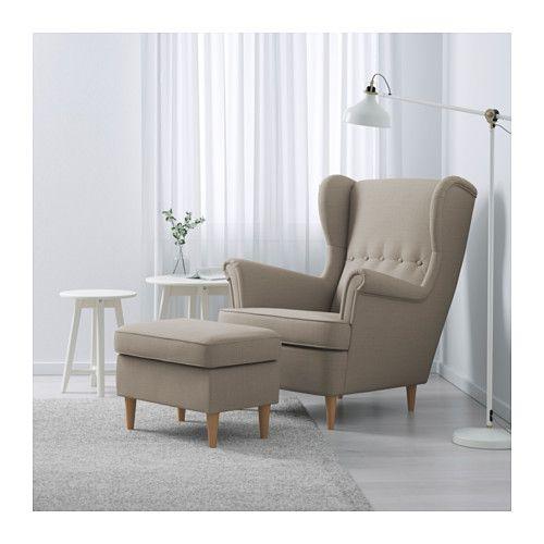 STRANDMON Öronlappsfåtölj - Skiftebo ljusbeige - IKEA