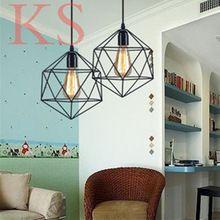 SÓTÃO Do Vintage lâmpada pingente de ferro Forjado armazém polígono diamante loja de lustres luminária pendente luz(China (Mainland))