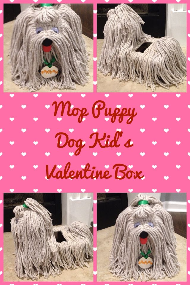 Shih Tzu Puppy Dog Kid's Valentine's Day box made out of Dollar store mops!