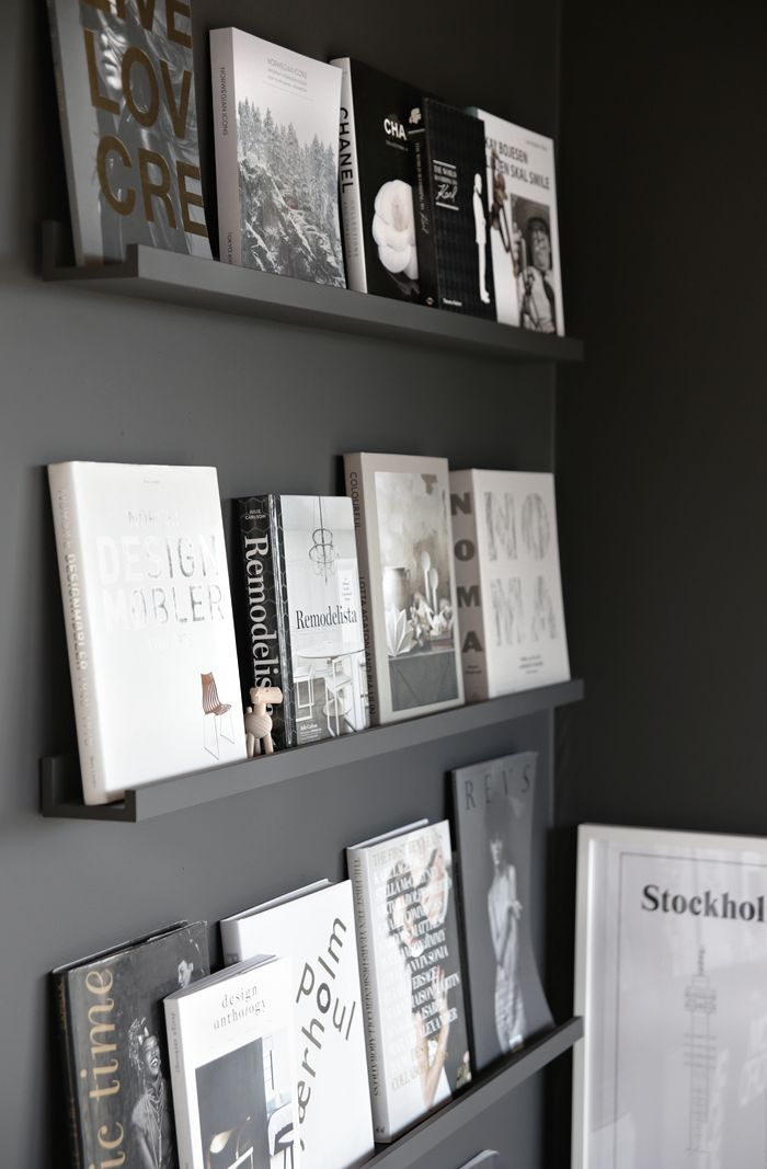 Black wall with books