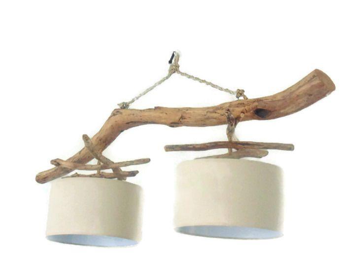 Lustre/plafonnier en bois flotté - Lin 35 cm - création unique - double suspension - Led