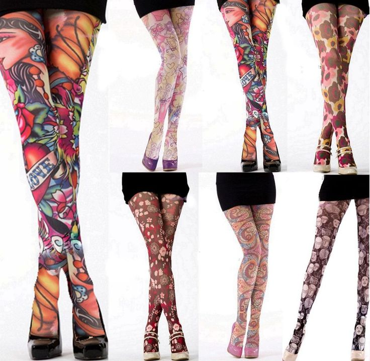 TATTOO TIGHTS Ladies Printed Tights  Patterned Tights Floral Tights Medium #Silky #SemiOpaqueOpaque #Everyday