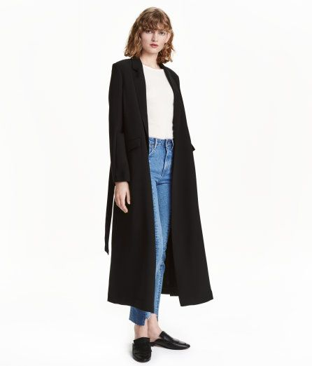 Check this out! Long coat in thick woven fabric. Wrapover, openable sides with concealed snap fasteners. Notched lapels, front pockets with flap, and tie belt at waist. Unlined. - Visit hm.com to see more.