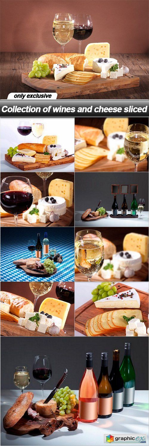 Collection of wines and cheese sliced - 10 UHQ JPEG
