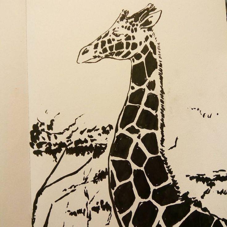 Jerapah giraffe #giraffa #jerapah #giraffe #ink #brushpen