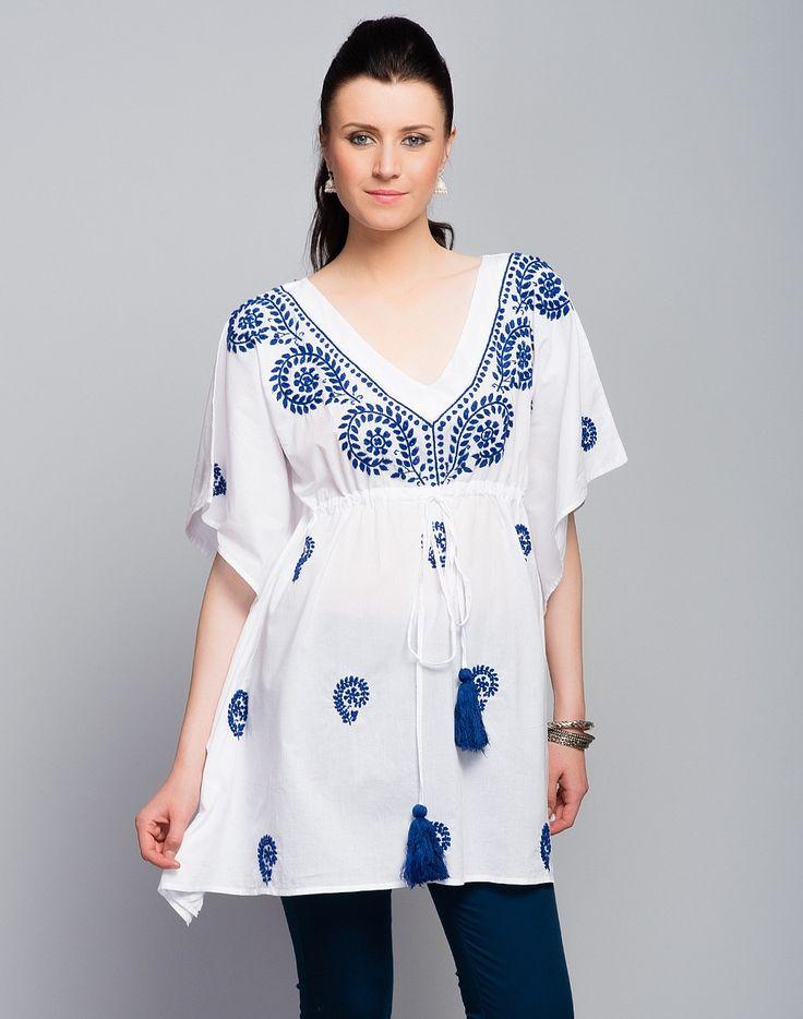 Cotton Plain Chikankari Embroidered Kaftan