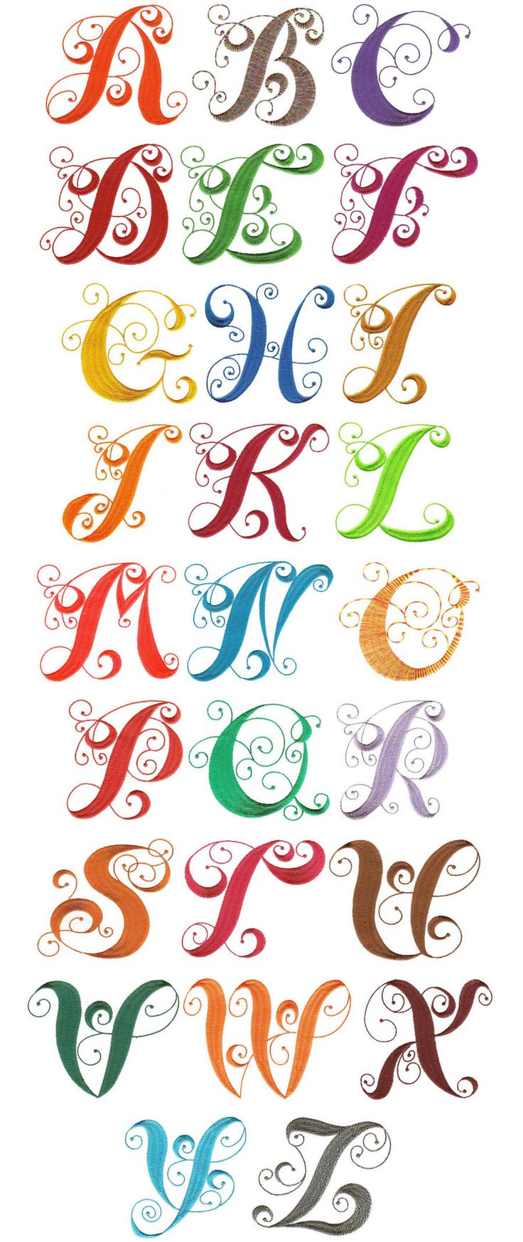 JuJu Alphabet Curly by Monogram online Elegant     fashion by Embroidery Designs Embroidery cheap shop Designs Machine
