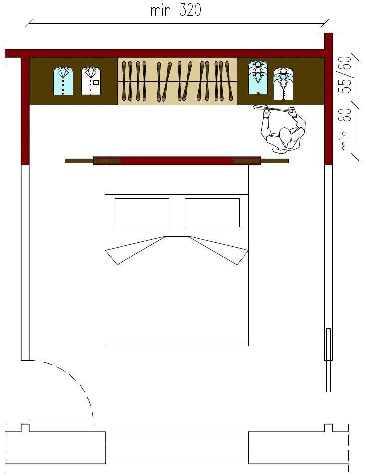 cabina armadio in linea su 1 solo lato: facile da ricavare in stanze con forma rettangolare: la larghezza della cabina deve essere di almeno 120 cm (di cui 60/65 cm per il passaggio