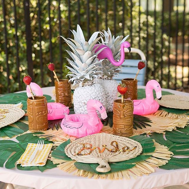 """These aren't just for poolside! Inflate these flamingo coasters and pass them out to guests at beach or Hawaiian parties. They're even a useful beach party decoration! Your guests will go wild for these floating coasters. Each vinyl coaster fits a 12-oz. soda can. Inflated, 8"""" x 6 3/4"""". � OTC Flamingo Family Yard Decorations. Create a whimsical yard arrangement with these plastic flamingos! Each 4 pc. set includes two 8"""" - 9 1/2"""" flamingos on 12"""" legs and two 21"""" flamingos on 23 3/4"""" legs…"""