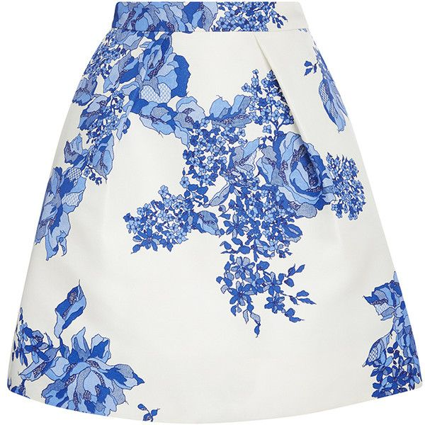 Monique Lhuillier Rose Print Full Pleated Skirt (4.955 BRL) ❤ liked on Polyvore featuring skirts, two pieces, white high waisted skirt, high waisted mini skirt, white a line skirt, mini skirt and high waisted skirts