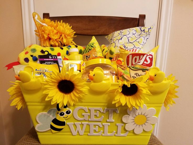 Get well gift basket. Dollar tree shopping for anything yellow!