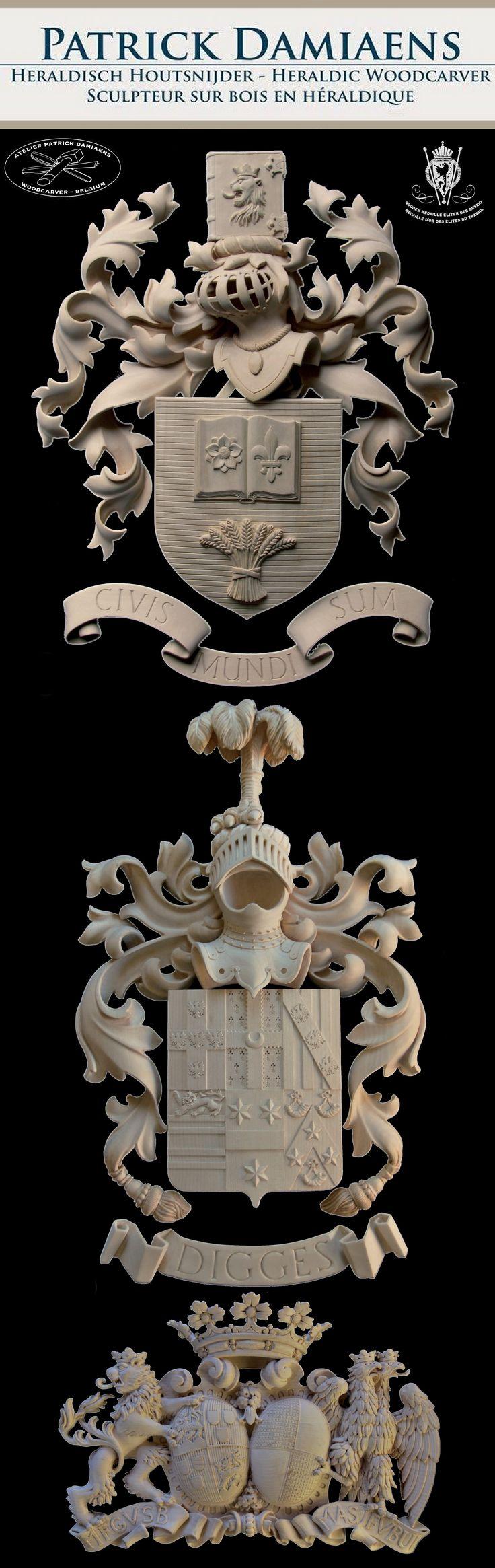 Familiewapen in hout laten maken | Een heraldisch familiewapen | Familiewapen in hout | http://www.patrickdamiaens.be