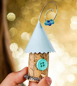 Creative Holiday Crafts for Kids: Home Tweet Home (via FamilyFun Magazine) Cork Birdhouse Ornament