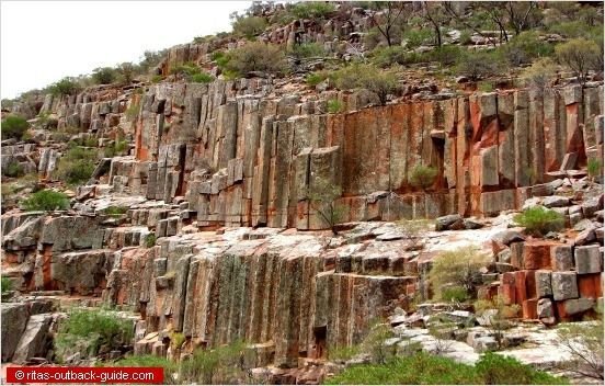 Ancient rock formations called the Organ Pipes, Gawler Ranges, South Australia
