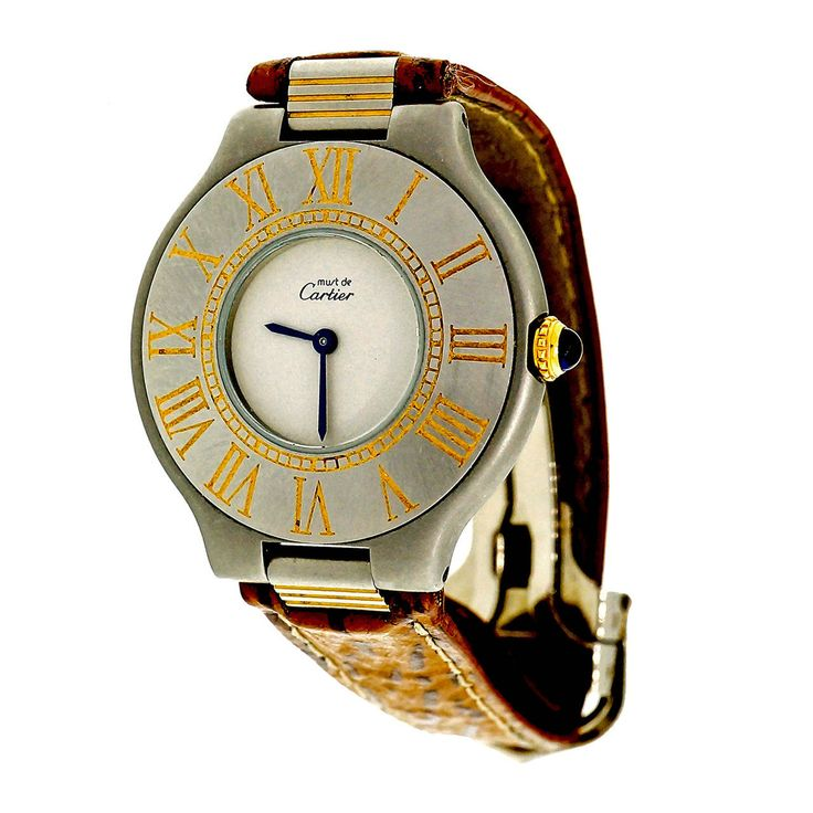 Cartier Lady's Stainless Steel Must De Cartier 21 Wristwatch circa 2000   From a unique collection of vintage wrist watches at https://www.1stdibs.com/jewelry/watches/wrist-watches/