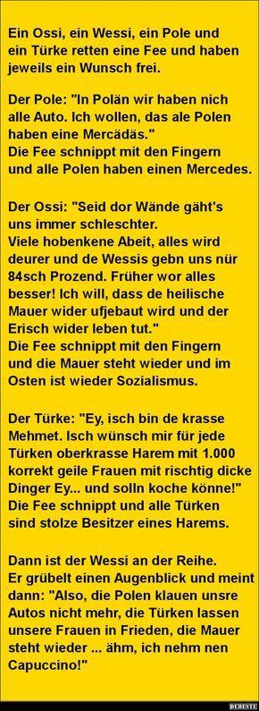Ein Ossi, ein Wessi, ein Pole und ein Türke retten eine Fee..   DEBESTE.de, Lustige Bilder, Sprüche, Witze und Videos