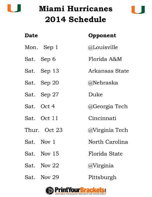 Printable Miami Hurricanes Football Schedule 2014