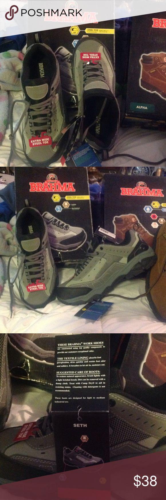 New Brahma steel toe leather slip resistant BRAHMA steel toe extra wide work tennis shoes. Brahma Shoes Sneakers