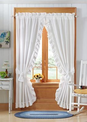 White+Priscilla+Bedroom+Curtains | White Ruffle Curtain Drapes from Collections Etc.