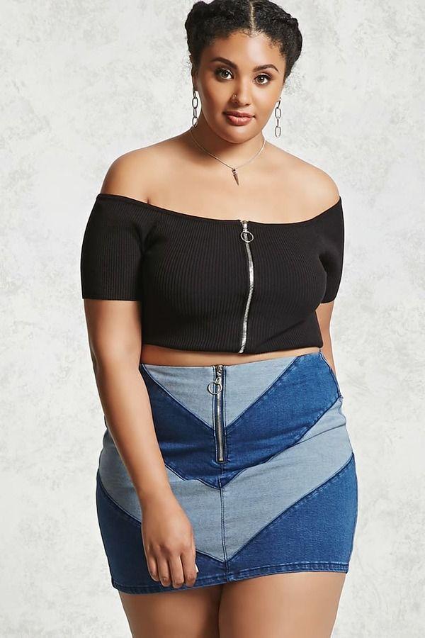 Forever 21 FOREVER 21+ Plus Size Denim Mini Skirt