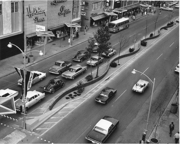 Douglas Ave. in downtown Wichita. This was probably in the 1970s. Nice shot of the decorative ...
