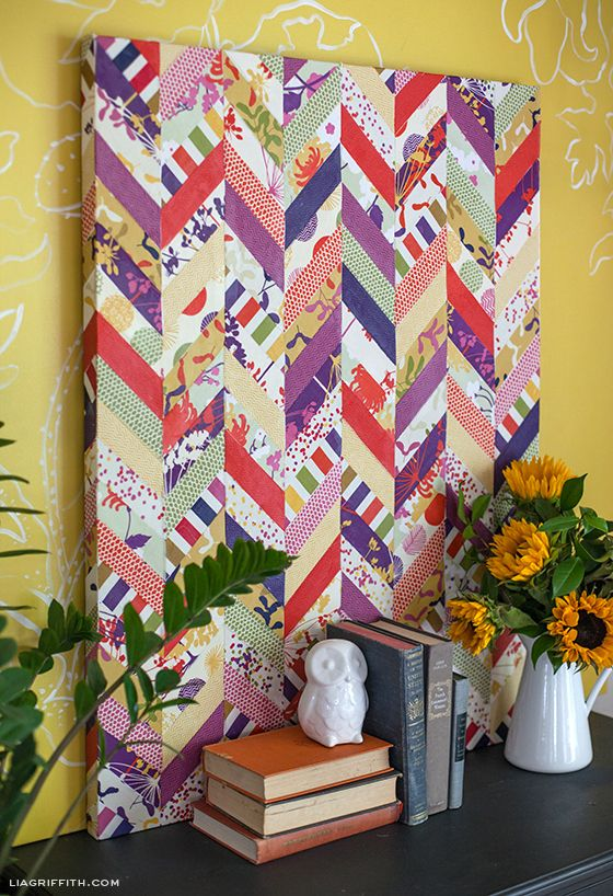 Chevron Art with fabric, mod podge, and a canvas - brilliant!