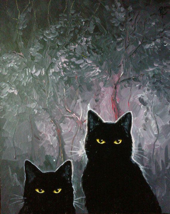 Black Cats Original acrylic painting 33x41cm by EmiliasCreations