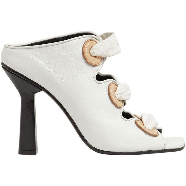 J.w.anderson Women 100mm Leather Mule Sandal W/ Eyelets ($1,485) ❤ liked on Polyvore featuring shoes, sandals, white, mule sandals, white shoes, high heeled footwear, leather sandals and white high heel mules