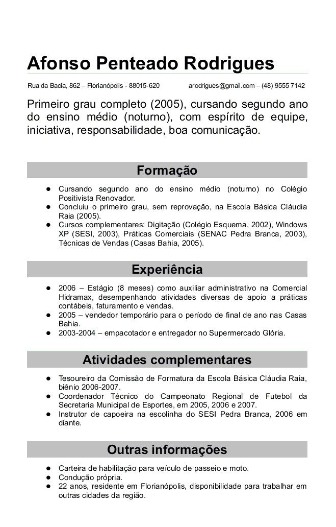 curriculum vitae em portugues exemplos