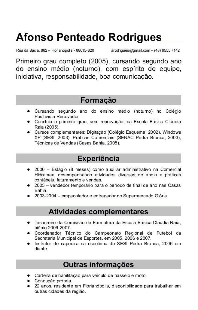 Modelos De Curriculum Prontos Viriato Curriculum E Education