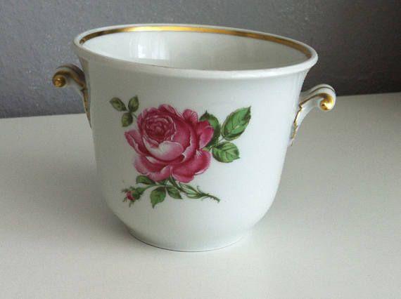 Vintage Porzellan Übertopf Pflanzen Topf Rosen Dekor Art Deco