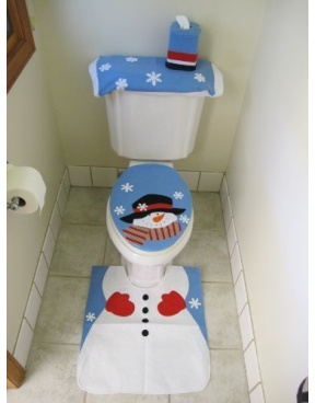 4 Pcs Christmas Santa Bathroom Toilet Seat Cover And Rug Set Blue Snowman Product Description Welcome The Holidays With This Piece Holiday