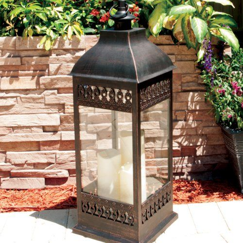 $75 Smart Design San Nicola Lantern with LED Candles - Bold and beautiful, the Smart Design San Nicola Lantern with LED Candles makes a visual statement any time of day. Durable enough to illuminate your i...