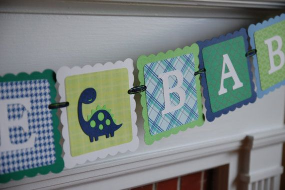 Dinosaur Welcome Baby Banner Dinosaur Baby Shower by GiggleBees, $23.00