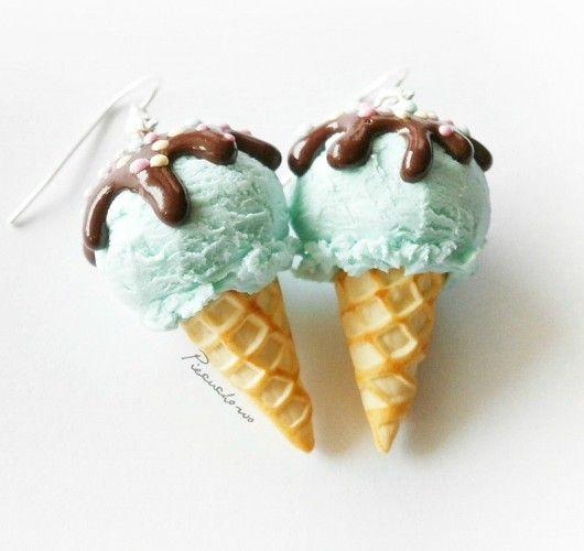 kolczyki - masa plastyczna-kolczyki lody miętowe- pastelowe
