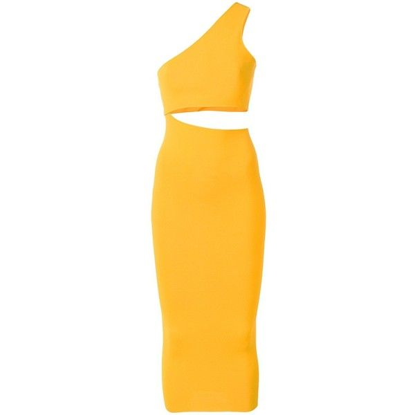 Stella McCartney one shoulder cut-out dress (£1,075) ❤ liked on Polyvore featuring dresses, long cocktail dresses, long dresses, one sleeve cocktail dress, one shoulder long dress and yellow cocktail dress