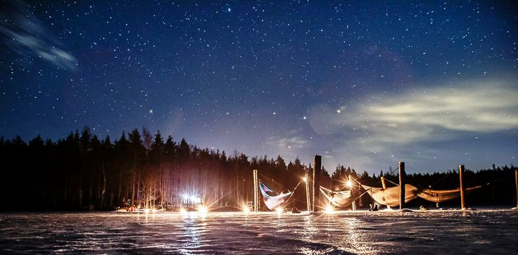 Camping on the frozen lake under the stars (Lappeenranta & Imatra region) Picture by: goSaimaa.com/Mikko Nikkinen