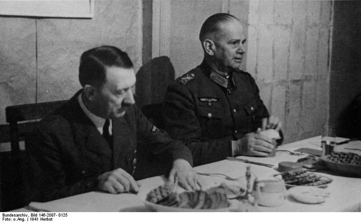 USSR, Zhytomyr: Adolf Hitler and Gen Walter von Reichenau at the headquarters of  6.Army (the same that was destroyed at Stalingrad). Reichenau, and ardent Nazi, suffered a severe stroke due to cold in Jan 1942. He was being transferred to Berlin by plane when he was killed after the plane made a forced landing at Poltava, Ukraine. In 1944, Hitler awarded his family a land endowment worth one million Reichsmarks.