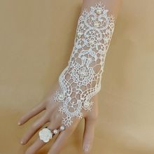 nieuwe hete verkoop mode witte, ivoor parel kant bruiloft bruid bruids handschoenen, ring armband(China (Mainland))