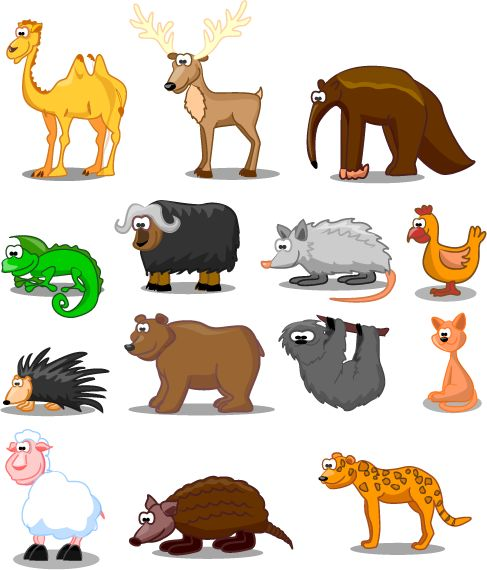animales tipo cartoon -01c, imagen vectorial