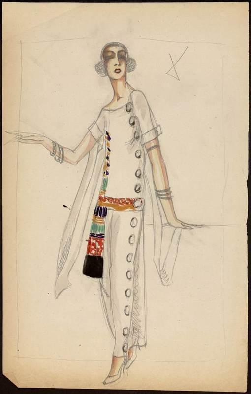 Paul Poiret dessin par Muguette Buhler 1922 crayon et aquarelle. Robe longue