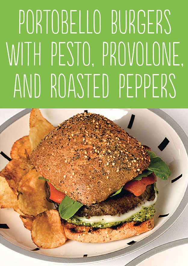 Portobello Burgers with Pesto, Provolone, and Roasted Peppers