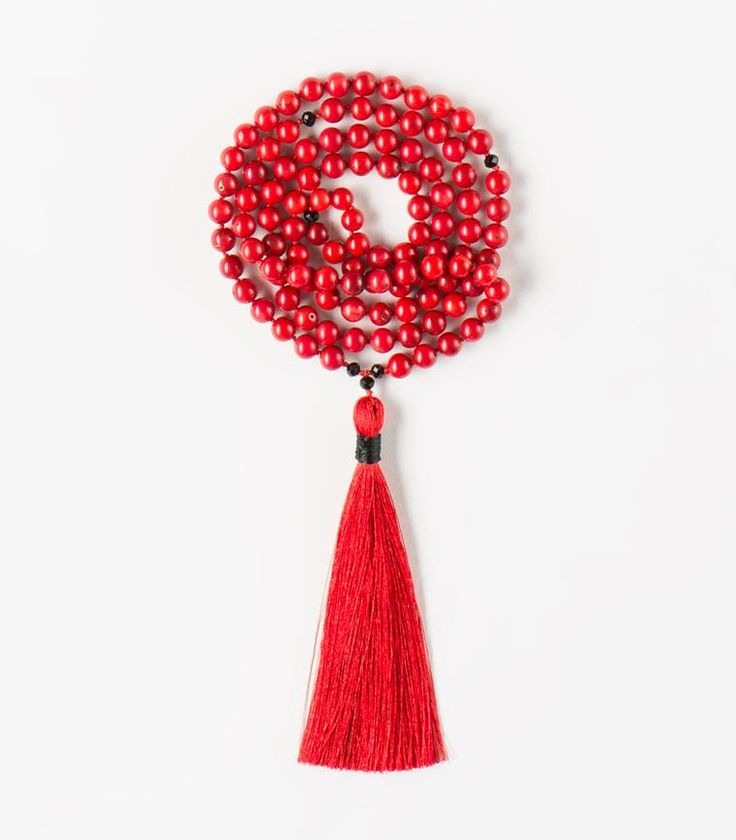 'Open Yourself' Mala - 108 Red Coral beads Tibetan Buddhist Mala with Black Agate