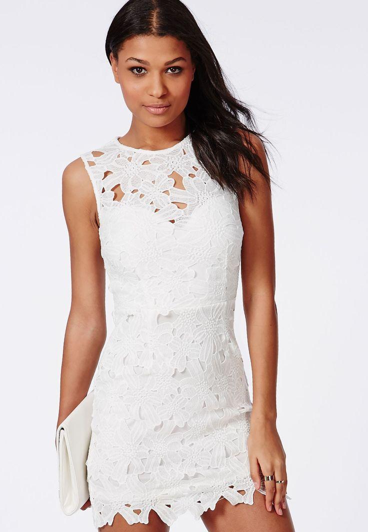 Missguided - Crochet Bodycon Dress White