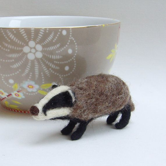 Needle felted badger sculpture