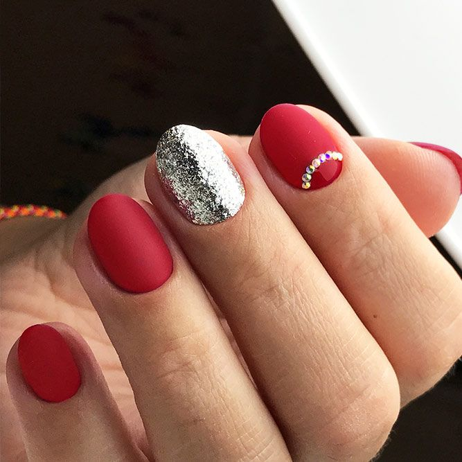 18 Red Nails Designs for Any Occasion ★ Matte Red Nails for a Classy Look Picture 3 ★ See more: http://glaminati.com/red-nails-designs/ #rednails #rednaildesigns