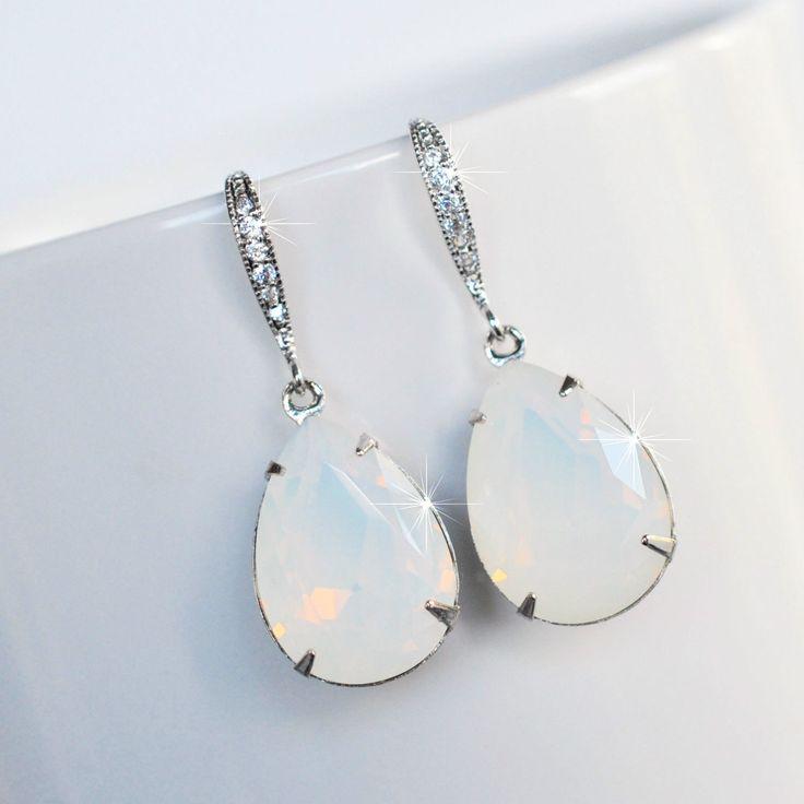 Handmade White Opal Colour Pear Crystal Dangle Earrings (Sparkle-2510)